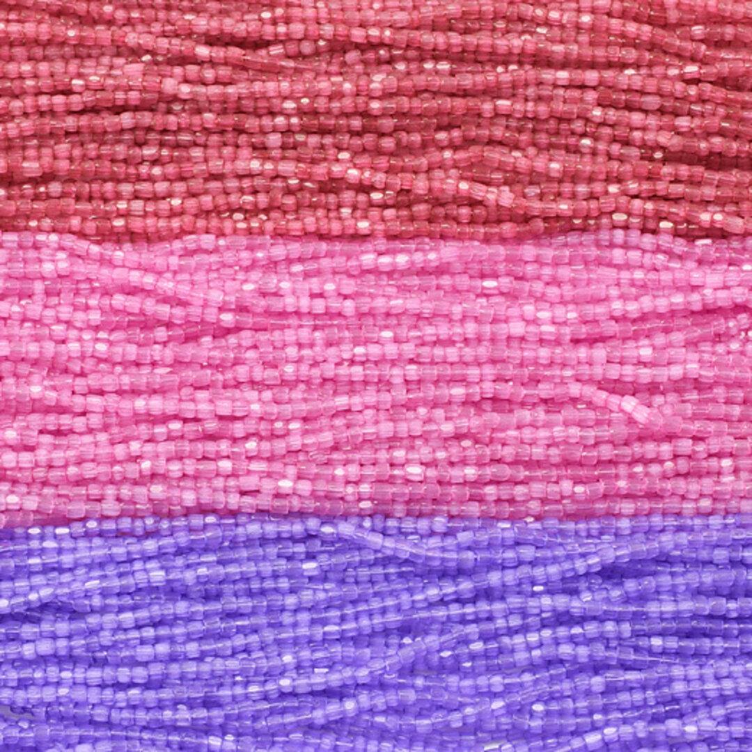 チェコガラスビーズ 3cutビーズ アソート シルク ヴィンテージローズ・パルムピンク・ラベンダー 3色セット