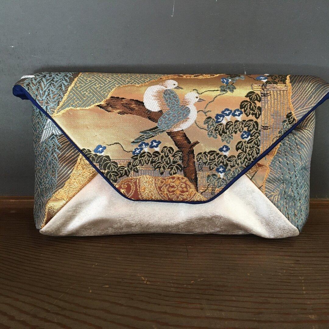 豪華刺繍きもの帯リメイクバッグ ネイビーゴールド 鳥
