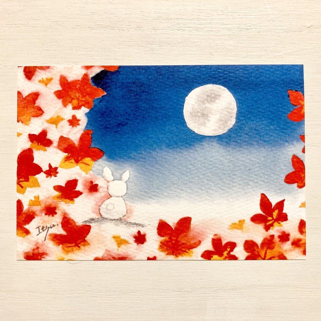透明水彩画「満月と紅葉」イラストポストカード2枚セット 絵ハガキ 秋 満月 月 紅葉 イチョウ うさぎ ウサギ 癒し 中秋の名月