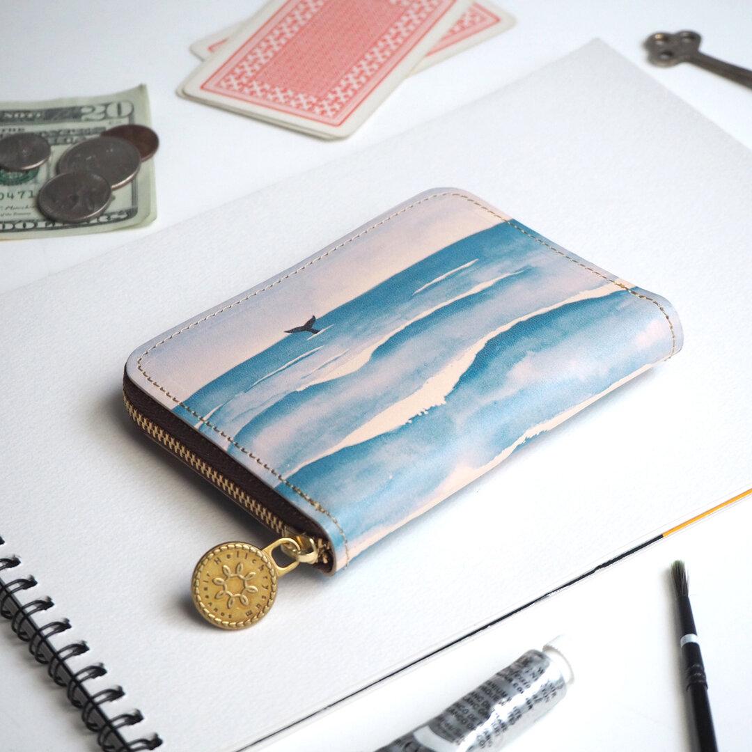 ラウンドファスナー コンパクト財布(ウェーブ)牛革 レザー メンズ レディース 小さい財布 ILL-1145