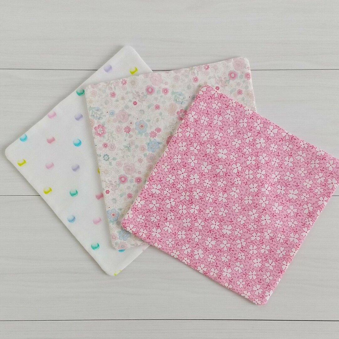 20×20ガーゼハンカチ3枚セット あめだま柄・花柄・花柄ピンク