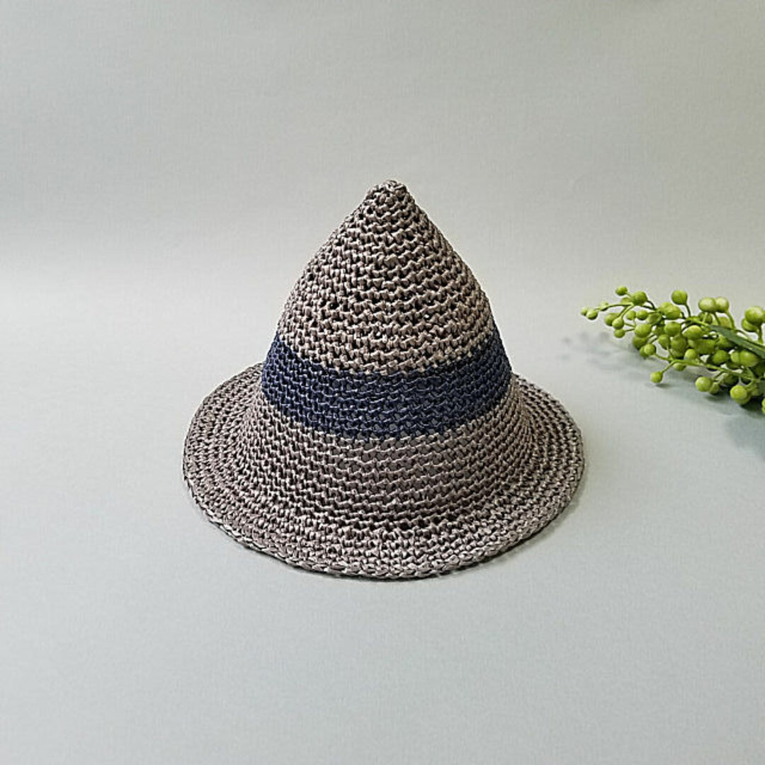 とんがり麦わら帽子L(グレー)