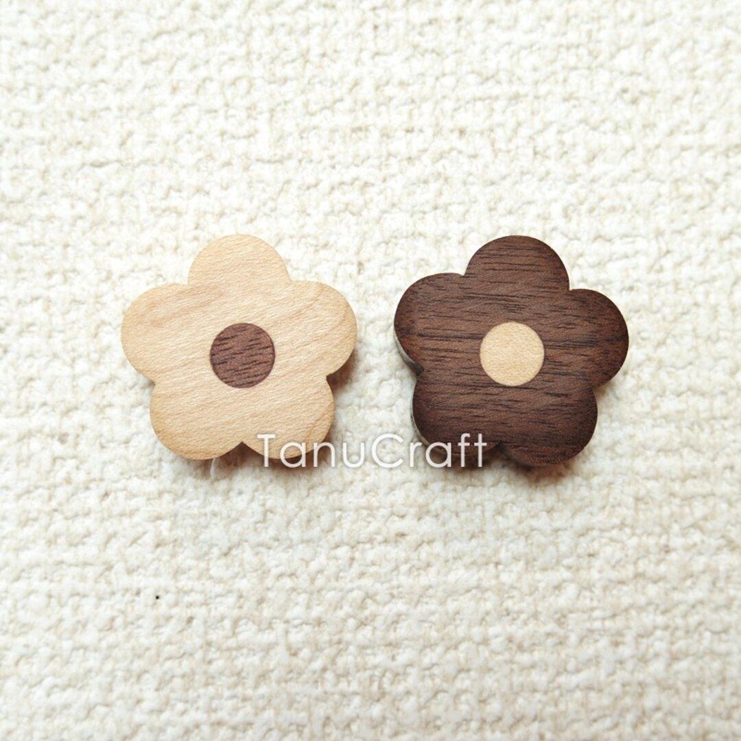 木製プッシュピン ■おはな(メイプル&ウォルナット)■