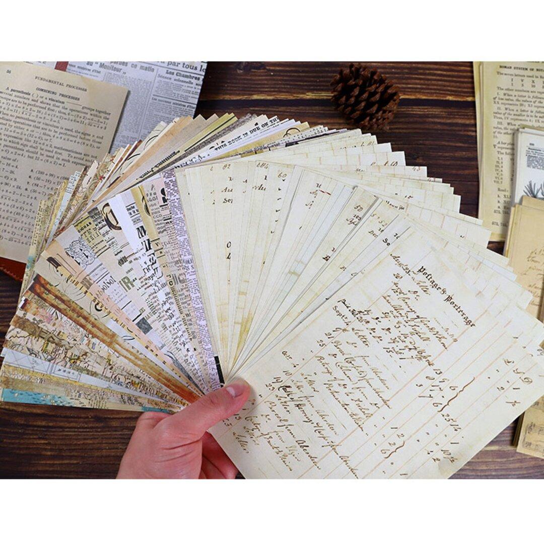 【再入荷☆】紙素材 手書き伝票 30枚 英字 ジャンクジャーナル ビンテージ風 紙もの