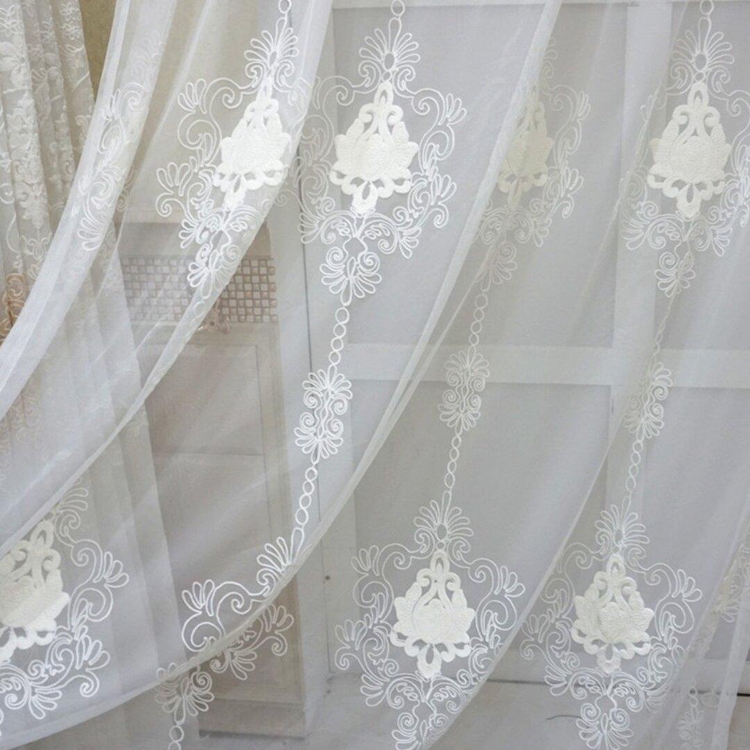 2枚入り 工場から直売 レースカーテン ホワイト オーダーメイド 刺繍 柄 サイズ インテリア 引っ越し 新生活  アジャスターフック付き ポイルカーテン カーテン 1.5倍ヒダタイプ おしゃれ