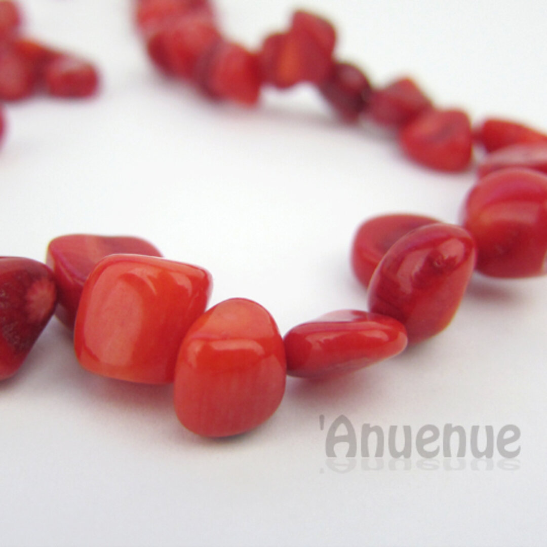 Natural Stone Beads /赤珊瑚ビーズ【Red Coral 5x6〜6x8mm】 20個