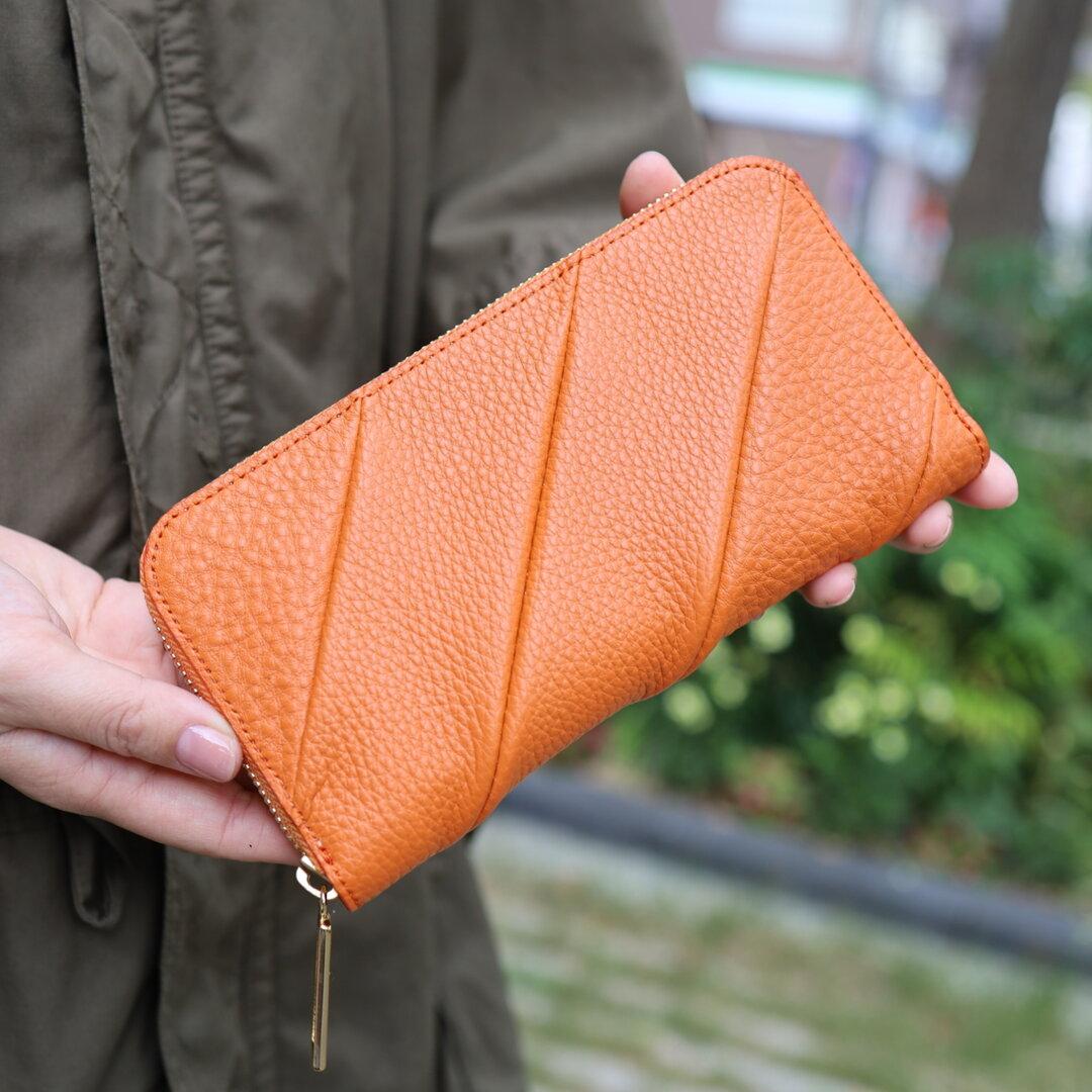 【オレンジ】立体感のあるパッチワーク/ツイスト財布/長財布【ねじれ/変形】