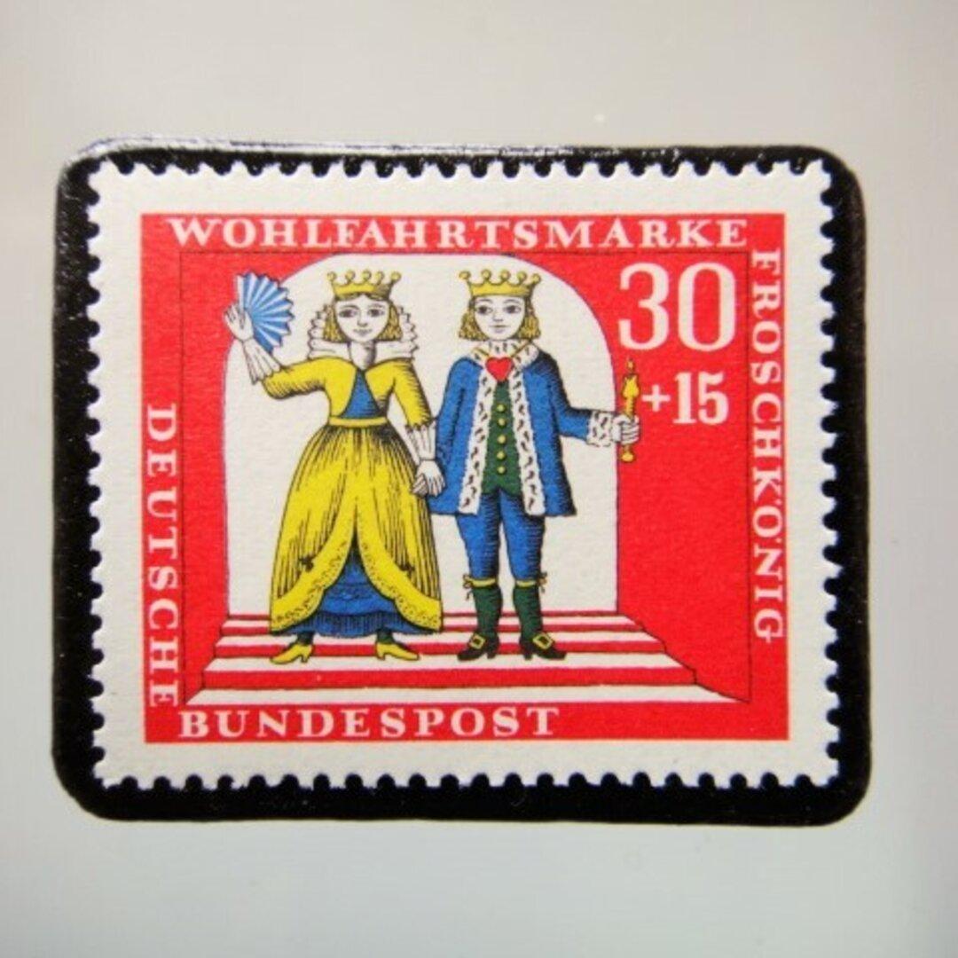 ドイツ 童話 カエルの王子 切手ブローチ 5154