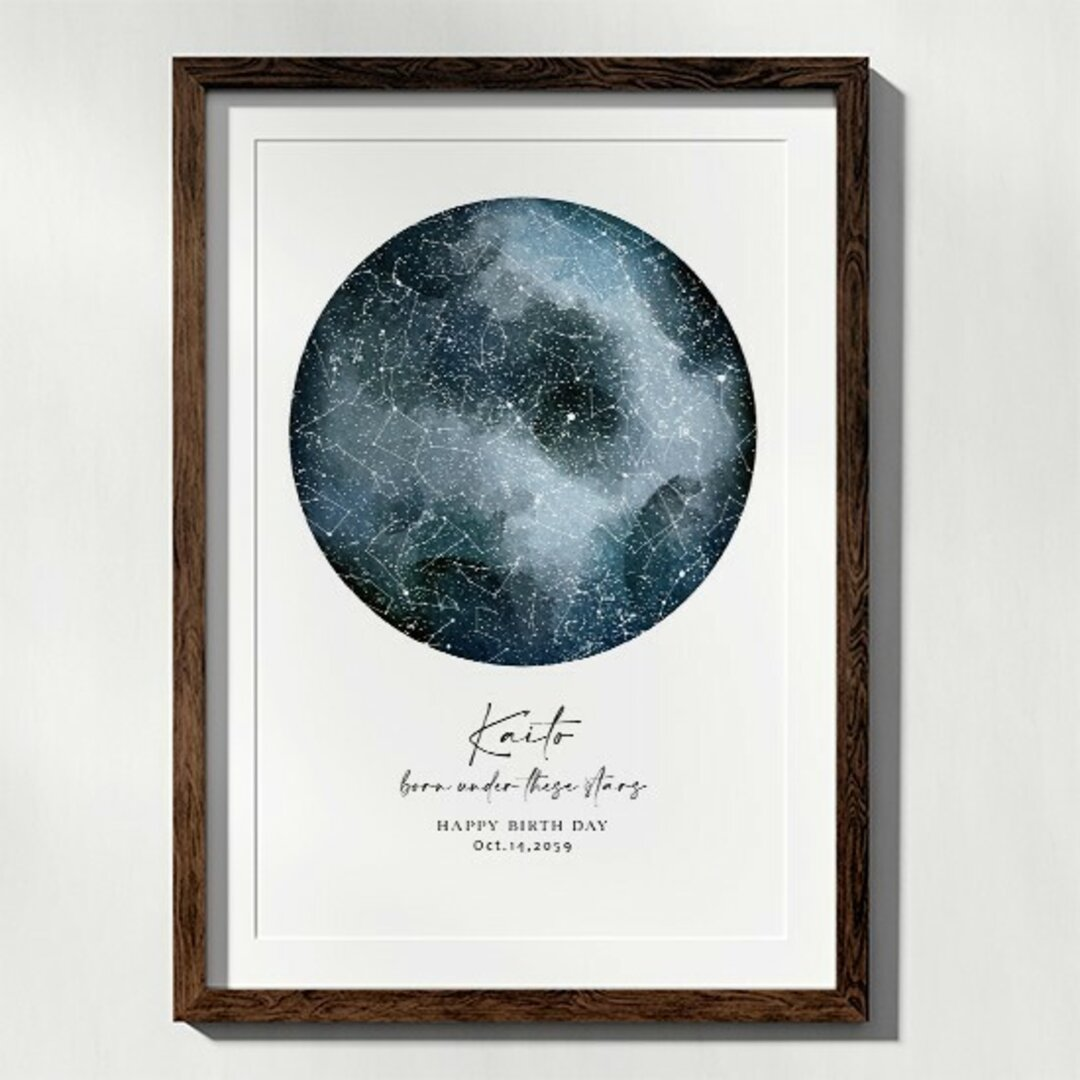 あの日の星空再現 特別な日の星空 スターマップ 記念日 誕生日 出産祝い 結婚 starmap0013