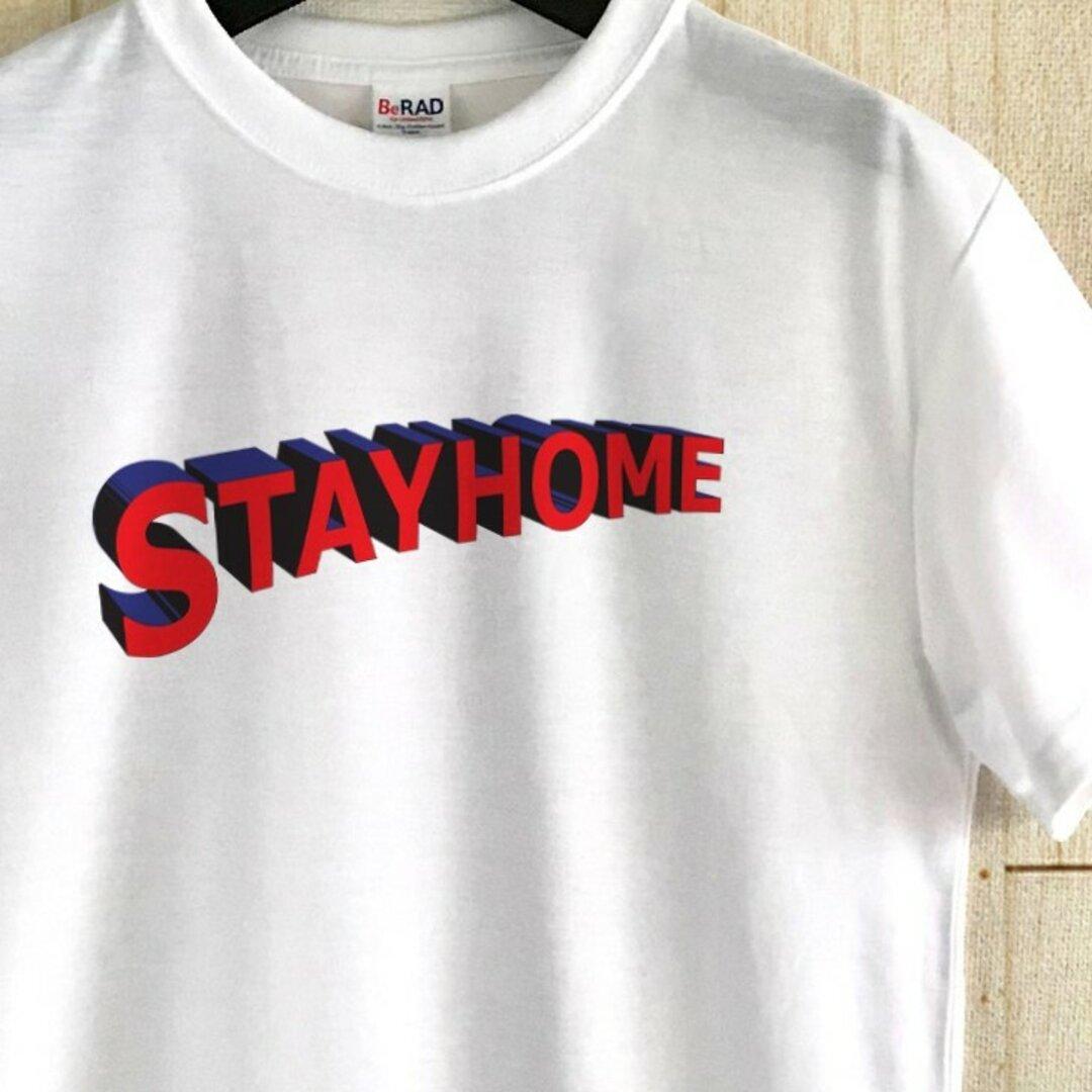 アメコミタイトル風メッセージ Tシャツ / STAY HOME