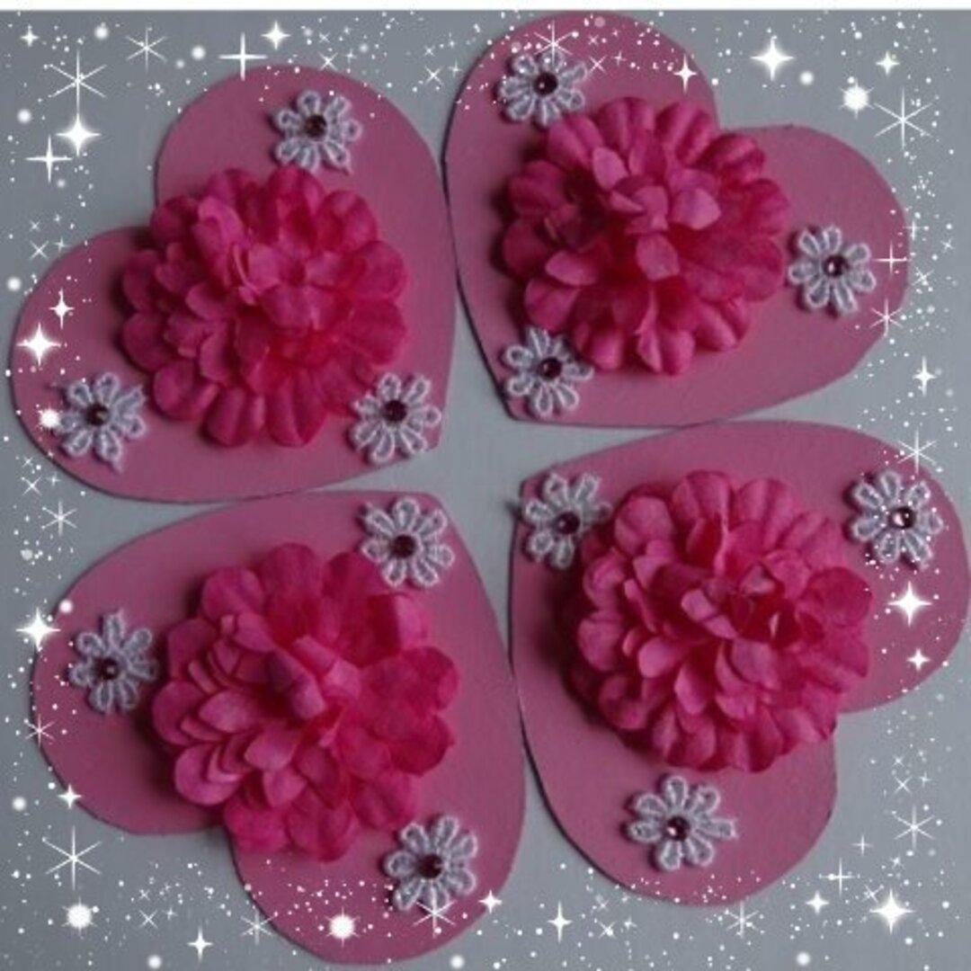 ハート♥にお花のマグネット4枚セット 送料無料✨