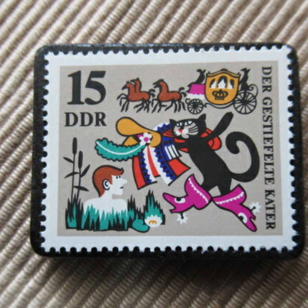ドイツ 童話 長靴をはいた猫 切手ブローチ 5947