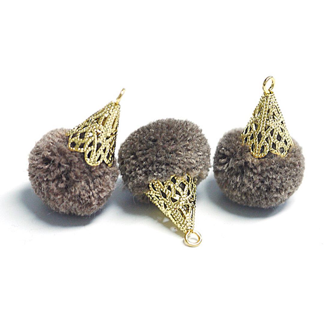SALE【6個入り】約17mm毛糸(ウール100%)モカブラウンカラーボンボンアンチックキャップチャーム、パーツ