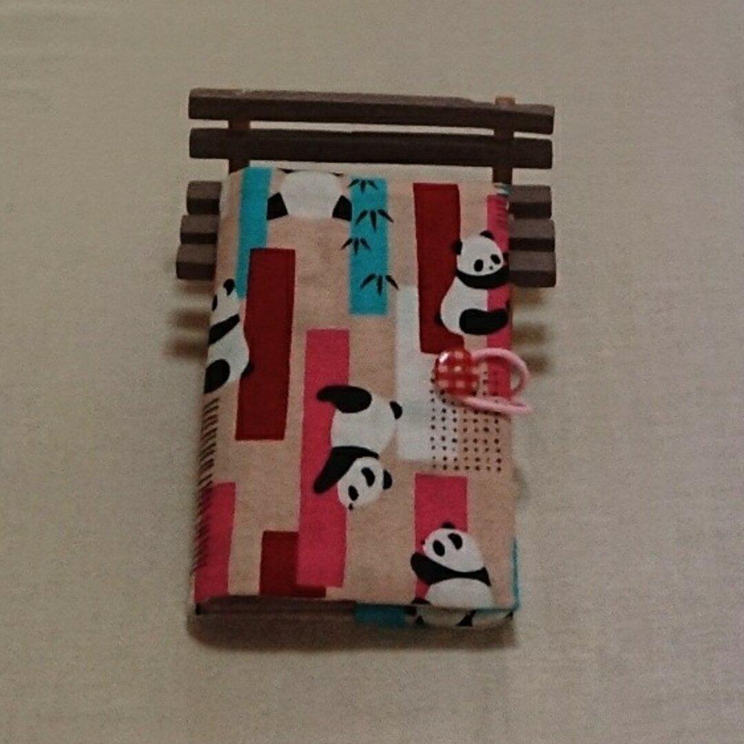 柱に登るパンダ柄(ピンク)◇カードケースカバー
