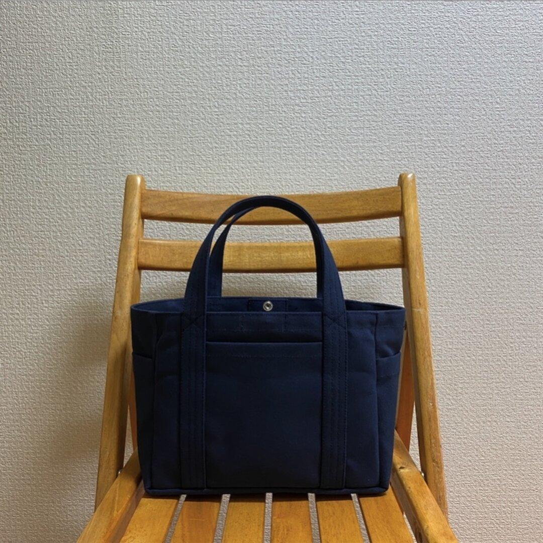 「ポケットトート」小サイズ「ネイビー(紺)」倉敷帆布8号【受注制作】