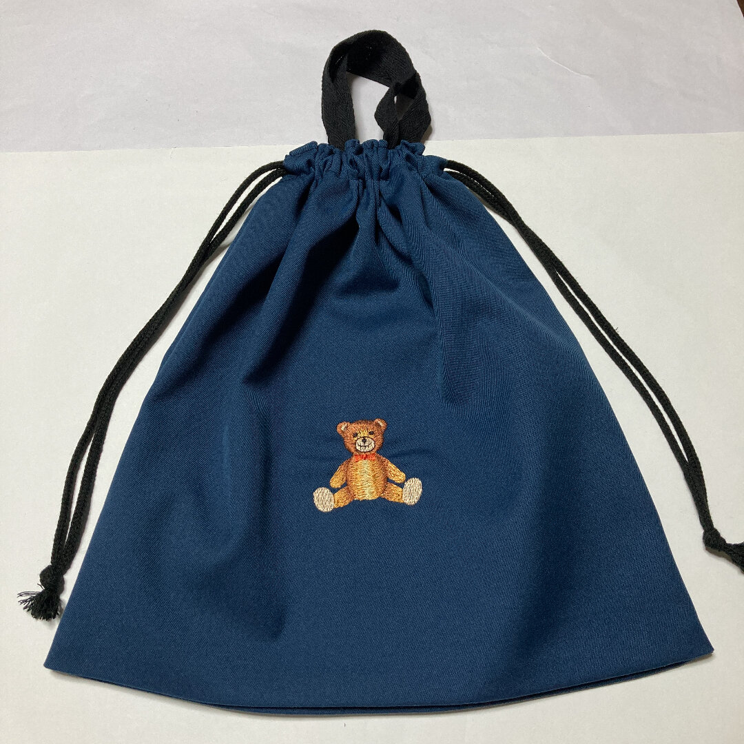 かわいいクマの刺繍入り持ち手付き体操服入れ☆213