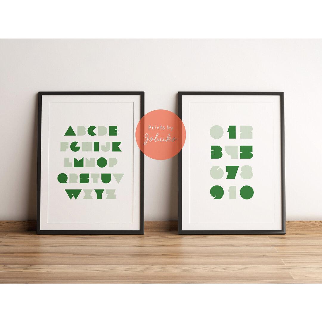 ABCポスター|数字ポスター|アルファベット|知育|A to Z|グリーン淡|ダウンロード
