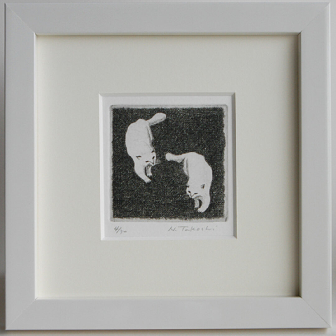 二匹の白い猫 / 銅版画 (額あり)