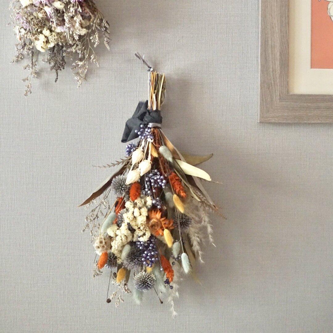 Hallowin 'Autumn' 秋晴れのスワッグ ギフト ハロウィン バースデー ドライフラワー オレンジ パンパス フォト