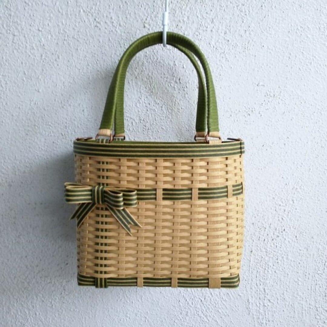 ダブルリボンのクラフトかごバッグ(S)クラフト&ヴィンテージグリーン