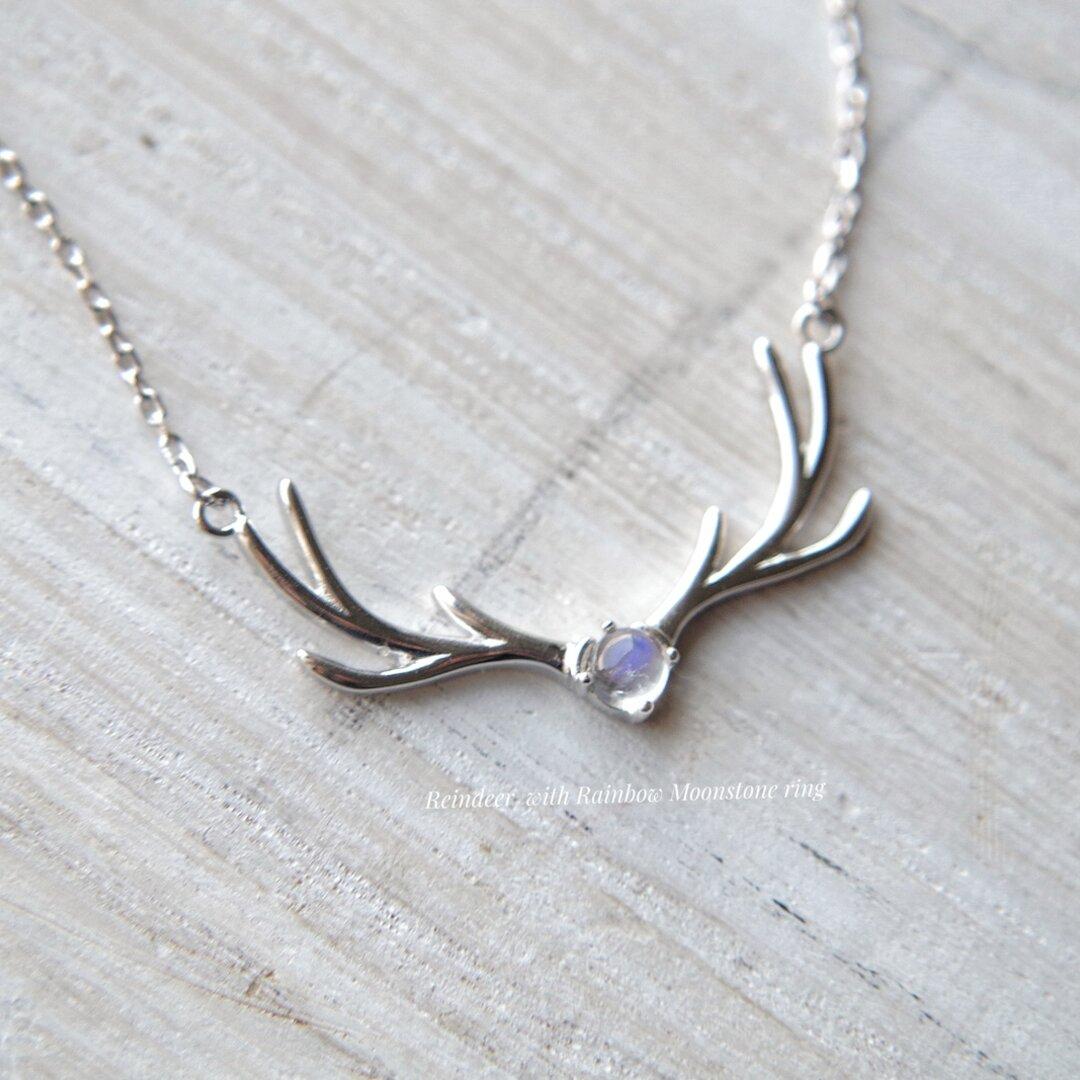 Reindeer  with Rainbow Moonstone necklace