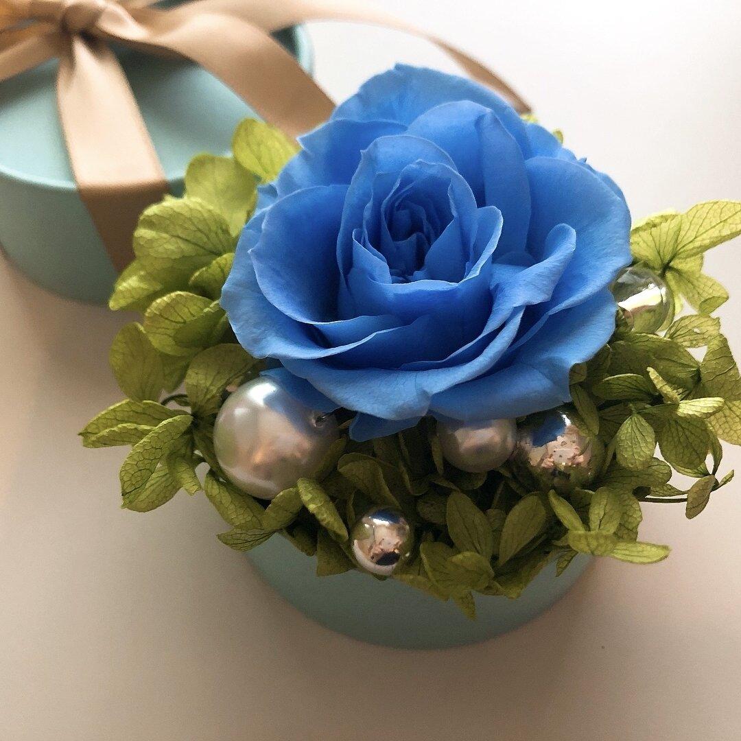 ボックスフラワー♡パールと青いバラ ナノシリーズ