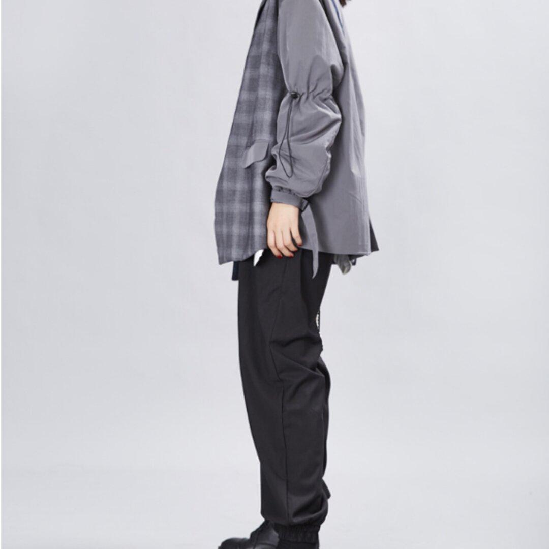 新しいレトロな小さなスーツの女性は、2色は、層状のスーツのジャケットをステッチ格子縞