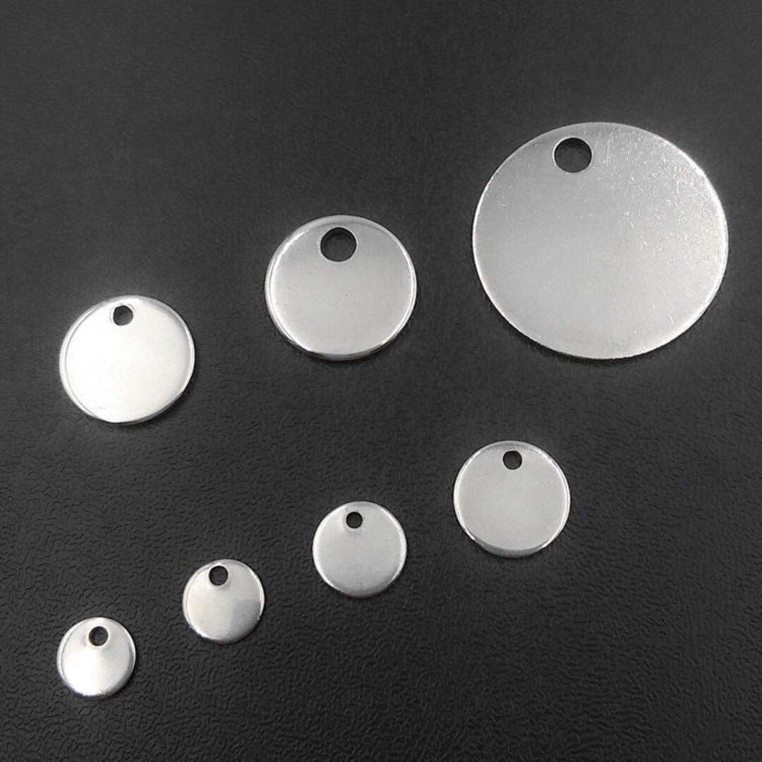ステンレス プレート チャーム ラウンドプレート メタルタグ フラット パーツ 素材 材料 丸型 金具 シルバー