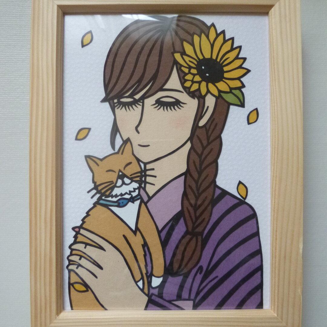 猫ちゃんを抱く浴衣の女性 切り絵(A5判)