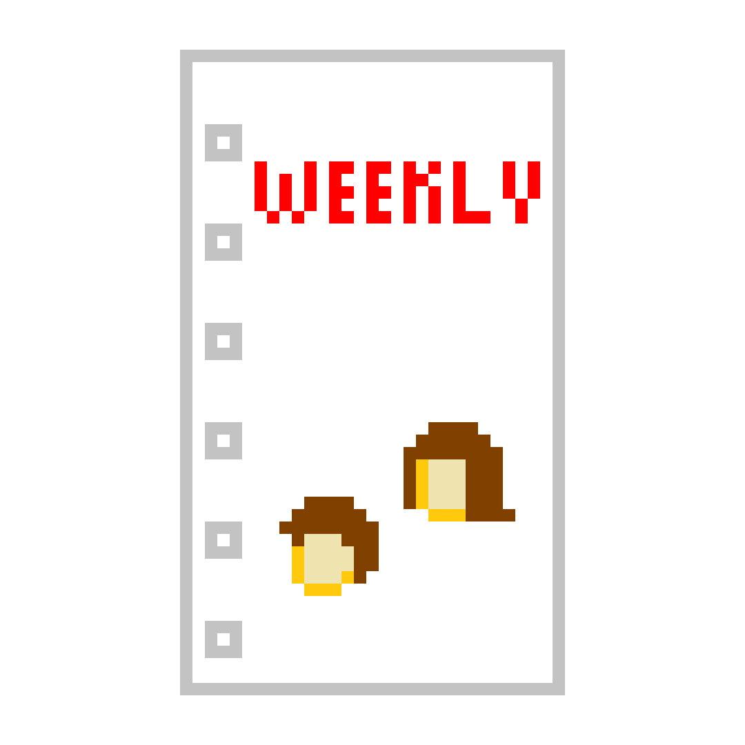 システム手帳 ミニ6穴 リフィル ピーターちゃん 週間 ウィークリー ブロック 12週分 ドット絵