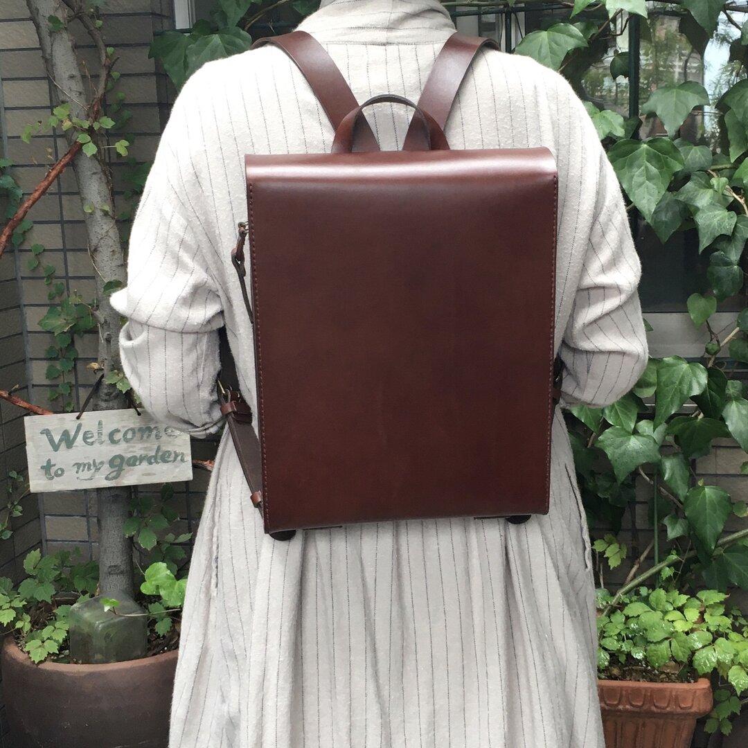 ヌメ革 スマートフラップリュック  ボルドー 手縫い ☆送料無料