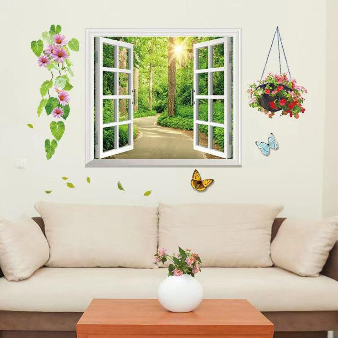 ウォールステッカー S279 窓 植物 花 葉 3D 道 DIY 壁シール インテリアシート 剥がせるシール 送料無料