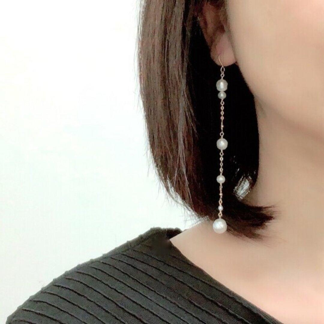 アシンメトリー 天然 淡水真珠 &ケシパール 超ロングピアス (k14gf)イヤリングに変更可