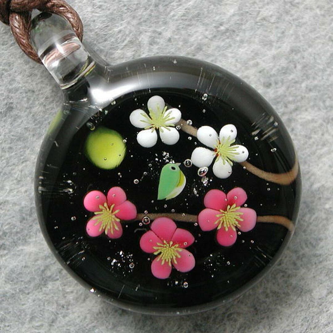 平玉・紅白梅とメジロ(試作品) とんぼ玉 ガラス ネックレス No1893