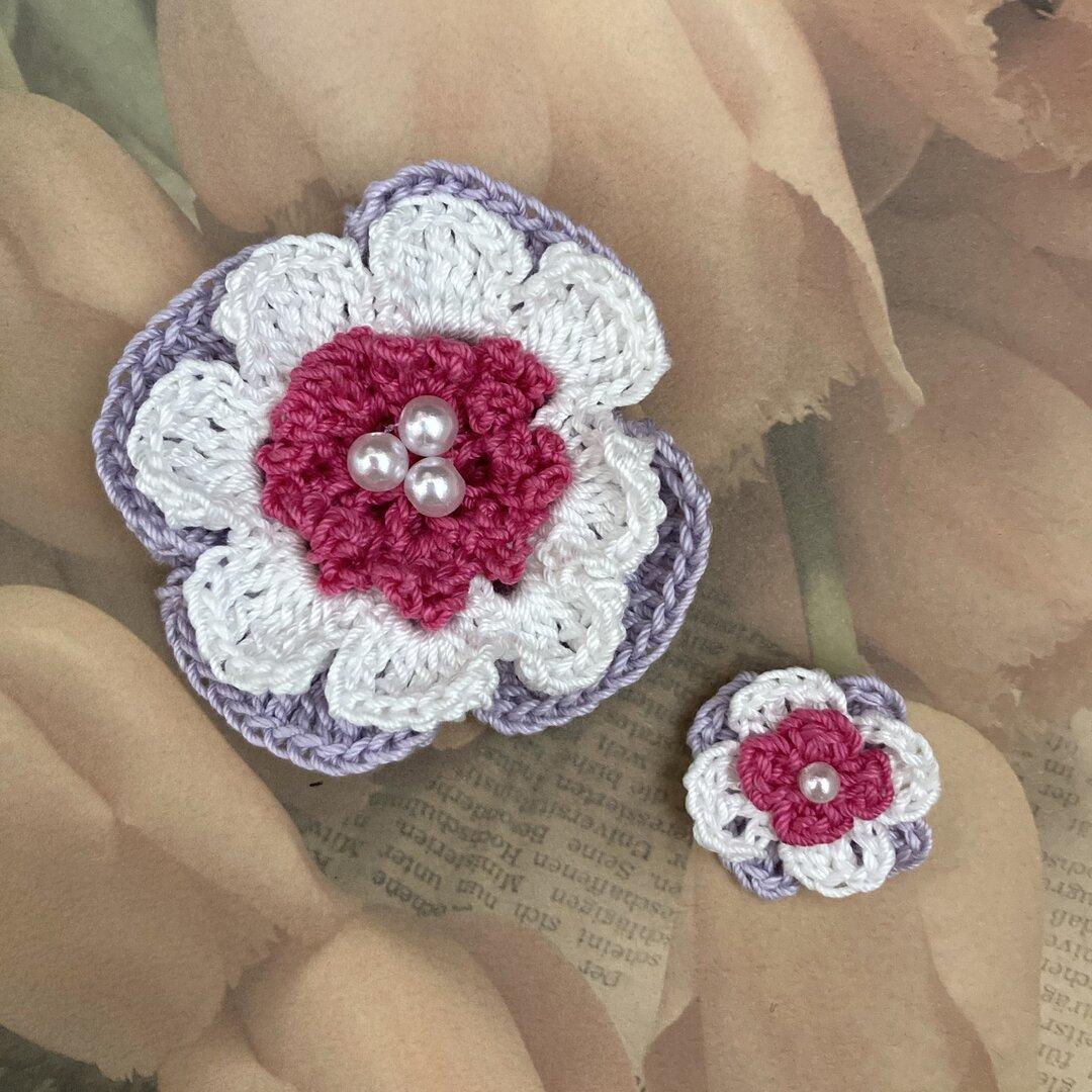 レース編み♪アネモネ風お花のモチーフ大小2個セット ハンドメイド資材