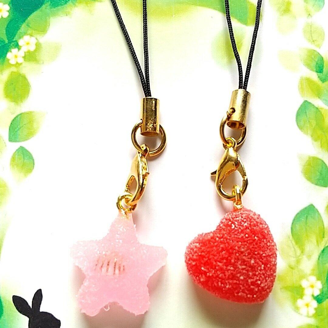オルゴナイト 星とハートのストラップ(☆ピンク&♡レッド)
