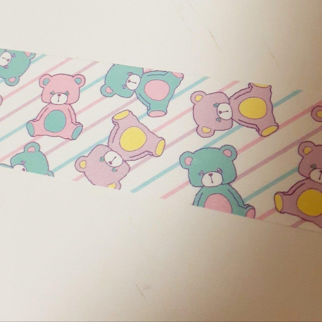 マスキングテープ20mm☆くまくまななめ
