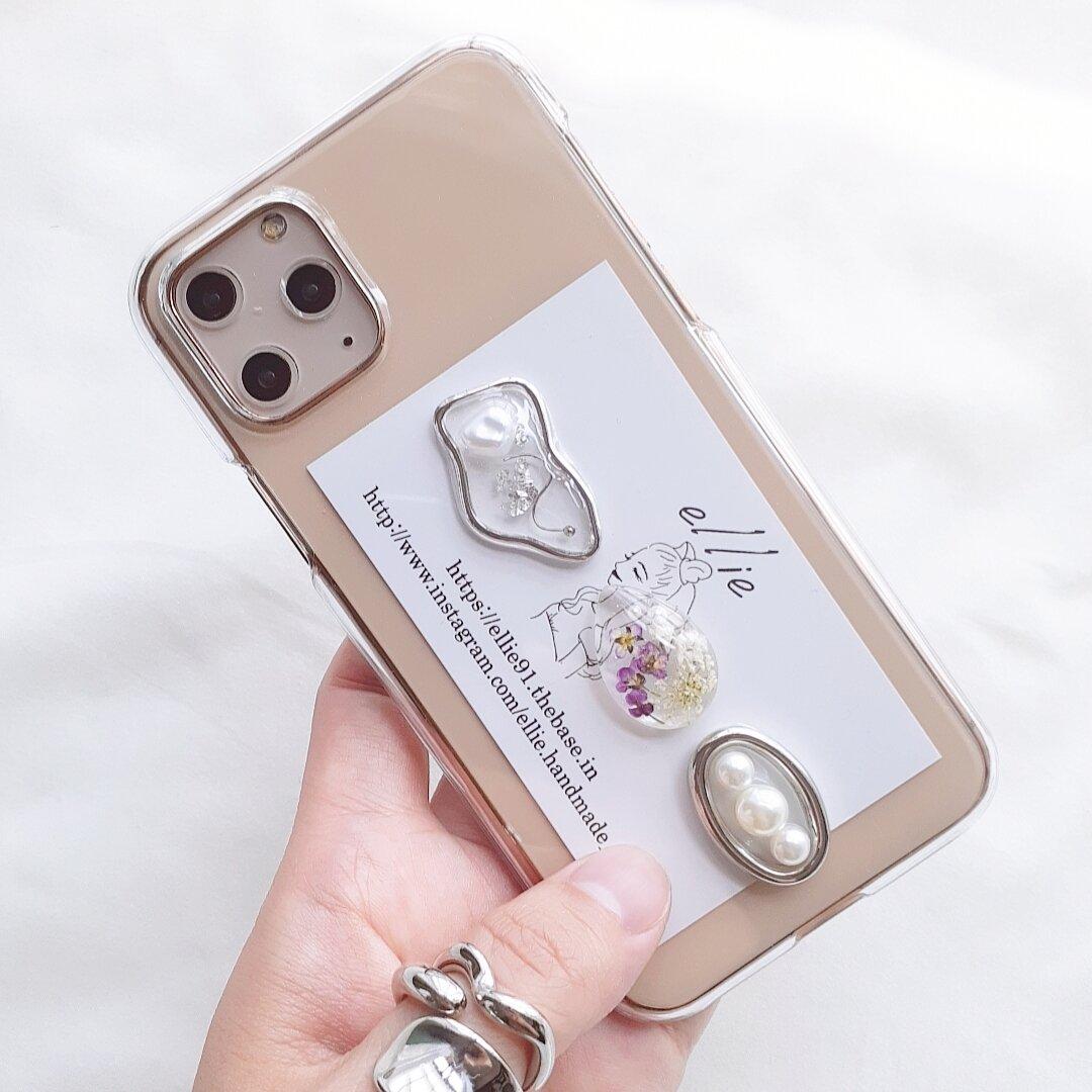 パールドライフラワーiPhoneケース