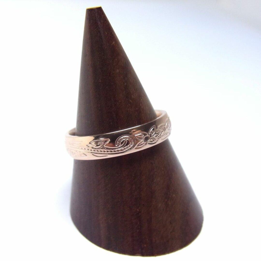 【送料無料】サイズ限定★Hawaiian ハワイアンリング 太幅 4mm ステンレス 指輪 ローズゴールド 〈1本価格〉