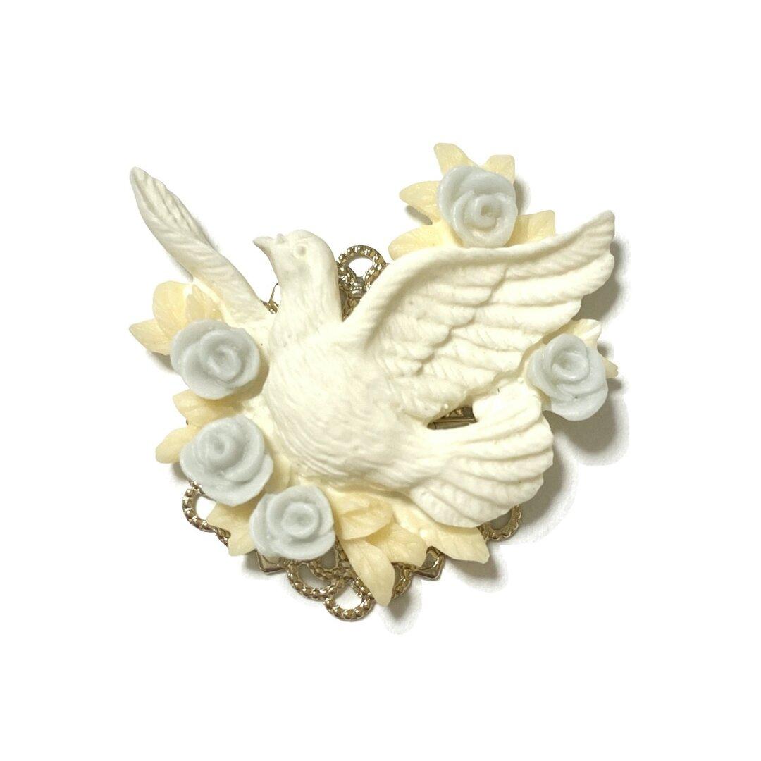 白鳩 鳥 帯留め 帯留 (ホワイト・アイボリー)