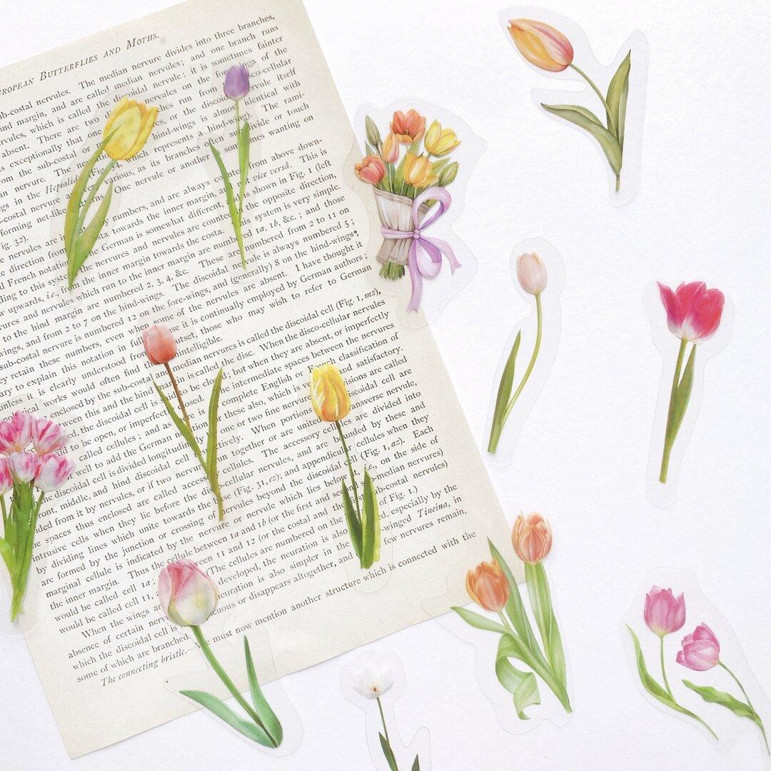 押し花 フレークシール 40枚set 《tulip》[F190]