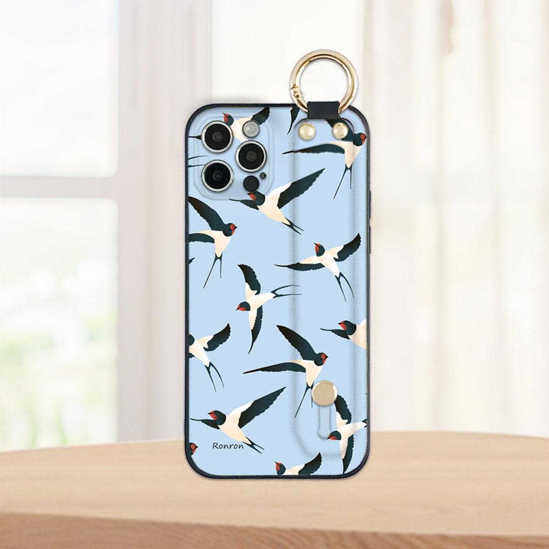 旅するツバメ ブルー ベルト付きTPUケース スマホケース iPhone Android ほぼ全機種対応 ron01-750