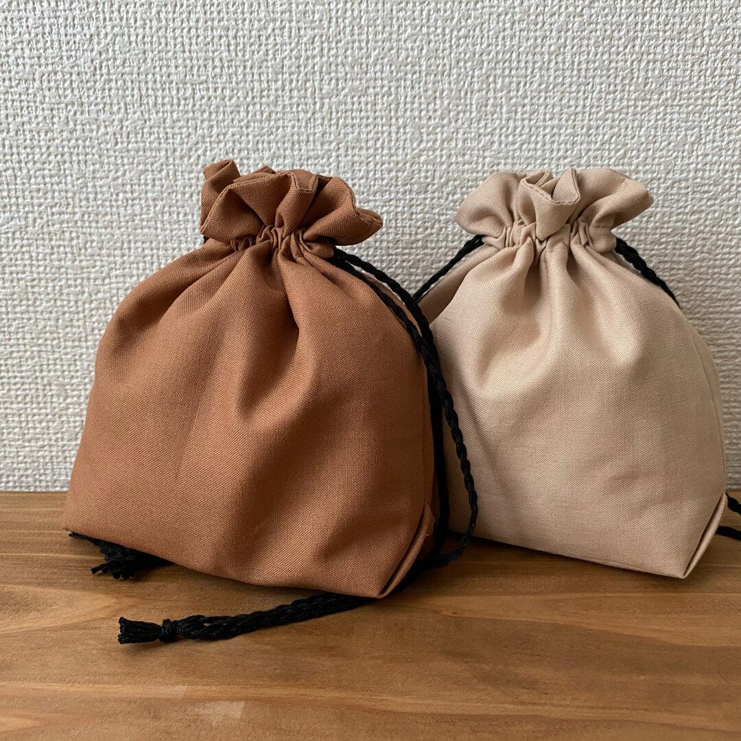 シンプル巾着(ブラウン)