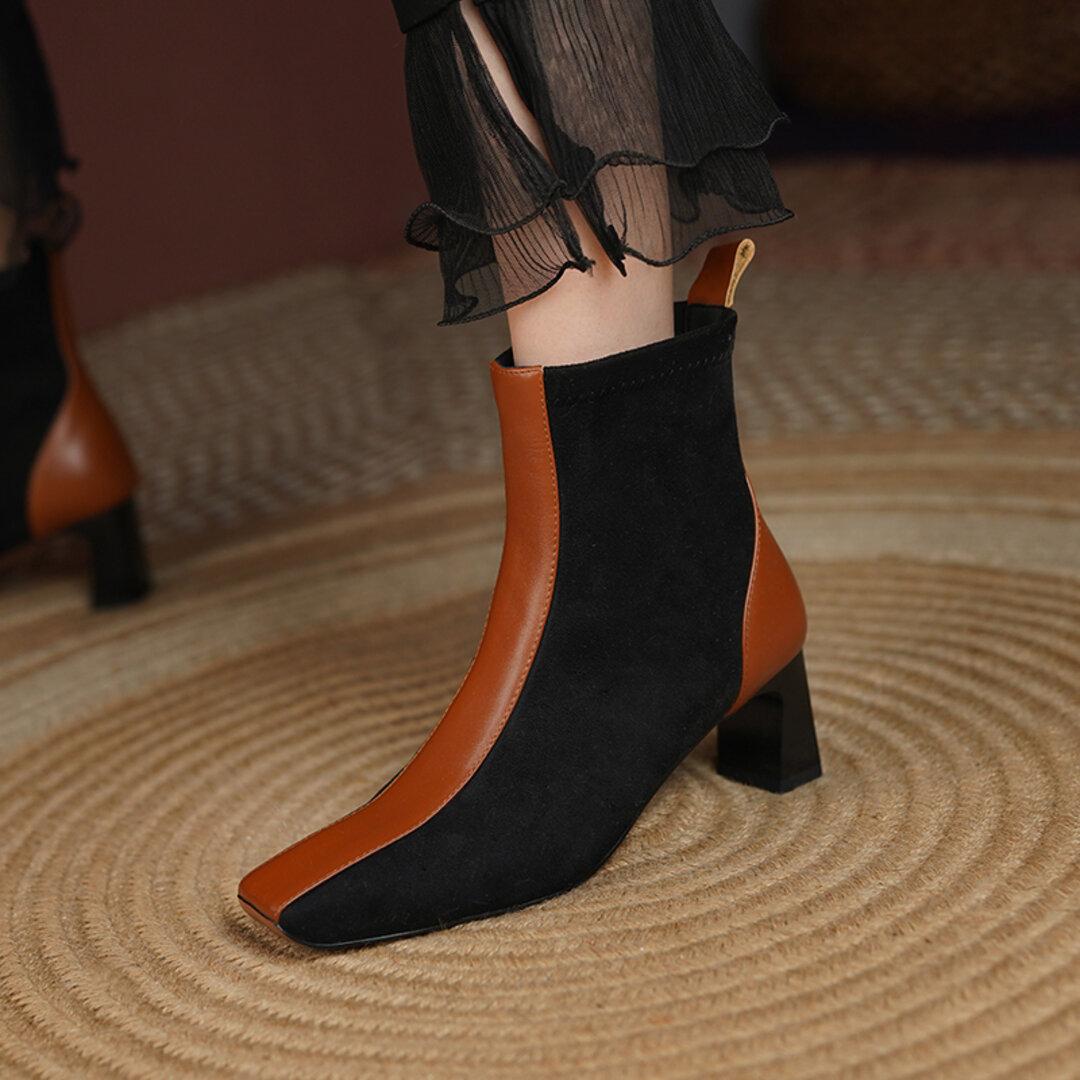 ★21秋冬新作★スエードX 牛革 お洒落なブーツ 本革靴 レディース  22㎝ー24.5㎝