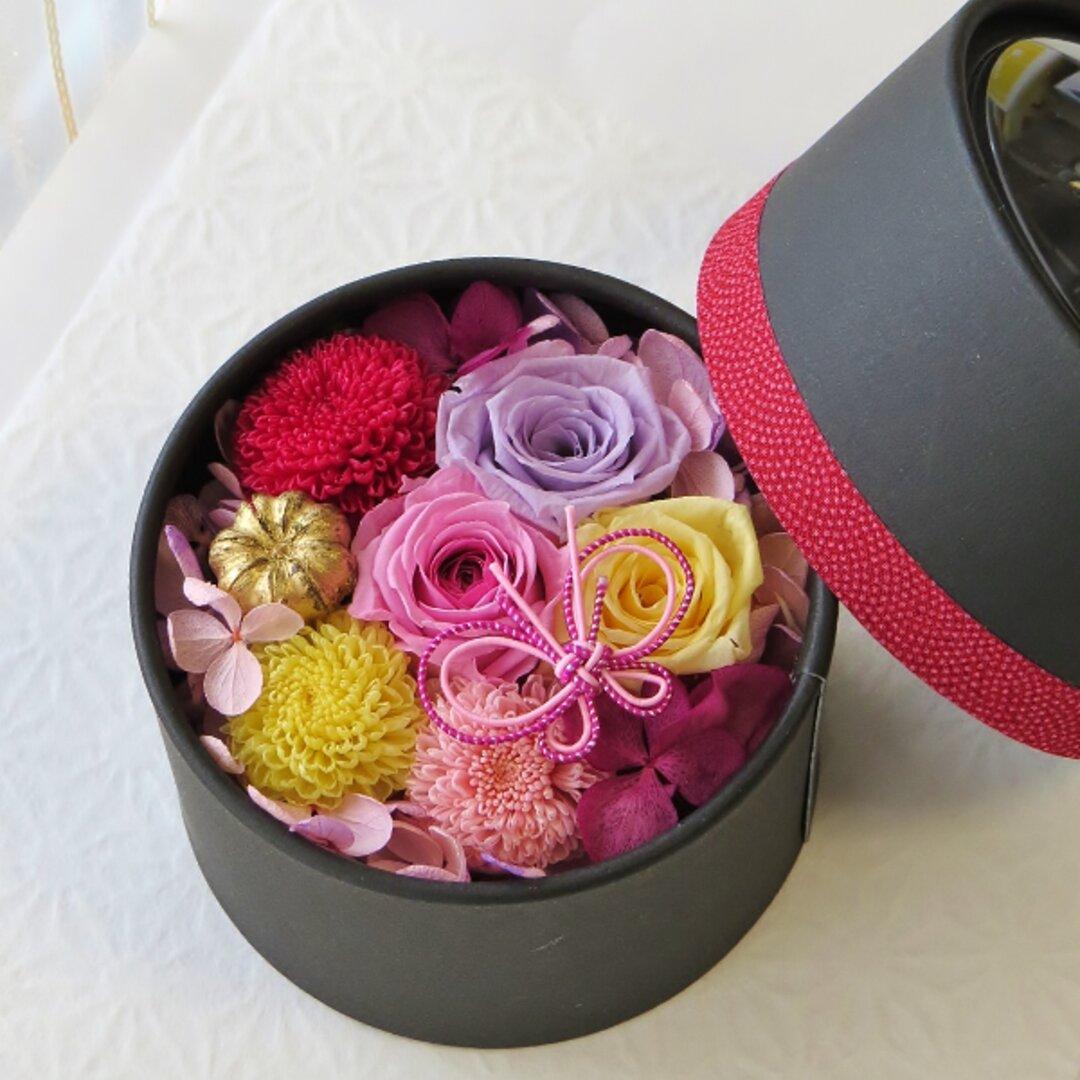 【新作】和花(あいか)愛らしい和花の丸いフラワードームボックス    無料ラッピング