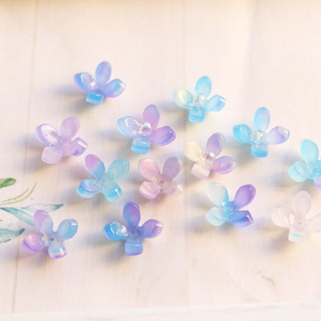 新色★14mm お花のアセテートパーツ ブルー✖️パープルグラデーション