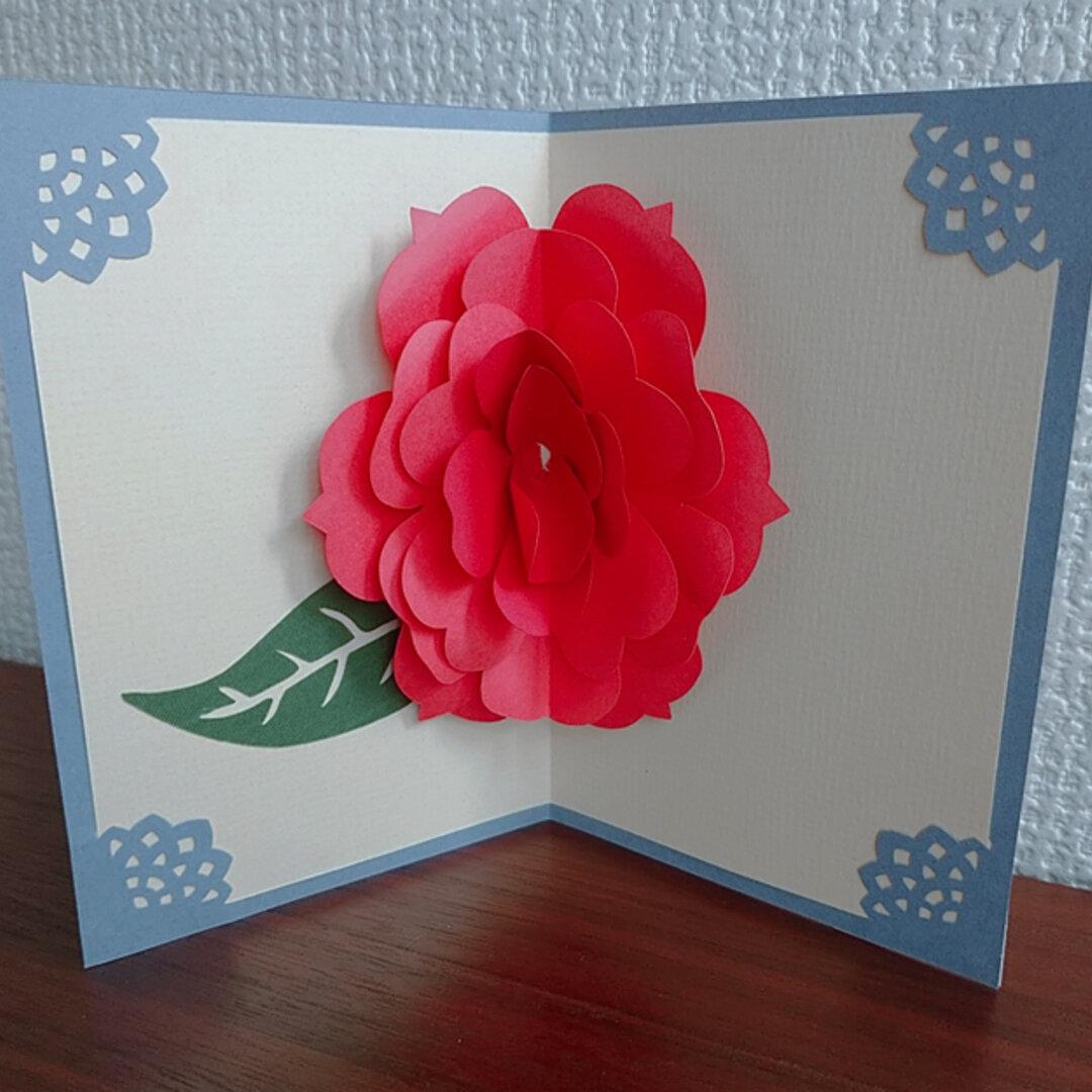 ポップアップ グリーティングカード(深紅のバラ)