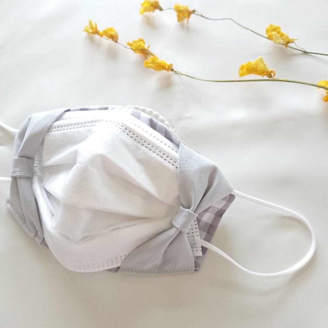 再販♡人気商品!!汗ばむ季節に抜群素材!! 不織布マスクが見えるマスクカバー⋈リボン