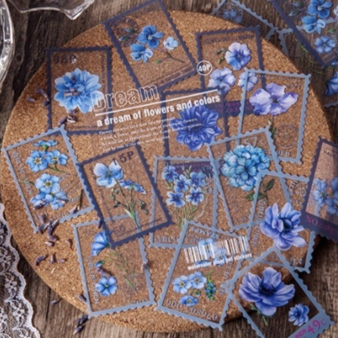 海外 紙モノ PET素材 切手風ステッカー 植物 ブルー系 40枚入り