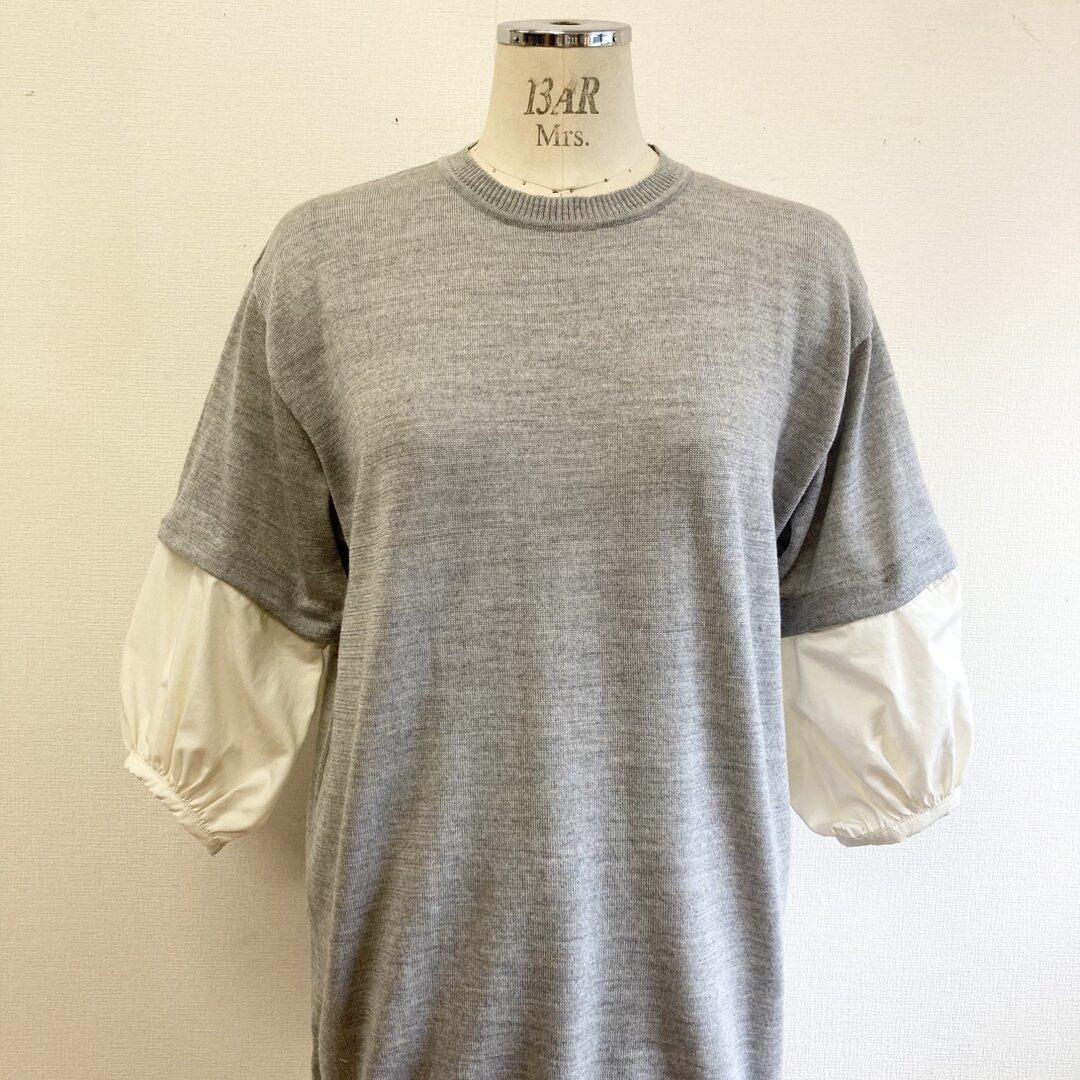 リメイクニット❤️取り外し8分丈シャツ袖付き半袖ニット グレー(サイズ L)